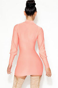 Sexy Ruddy Pink High Neck Hollow out Mini Dress