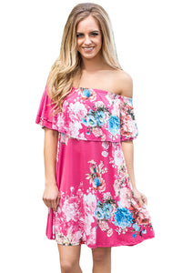 Sexy Ruffle Off Shoulder Rosy Floral Mini Dress
