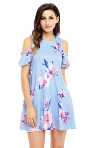 Sexy Ruffled Cold Shoulder Light Blue Floral Dress