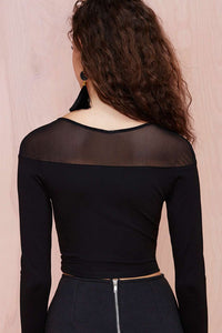 Sexy Seamless Mesh Inlay Long Sleeved Black Cropped Top