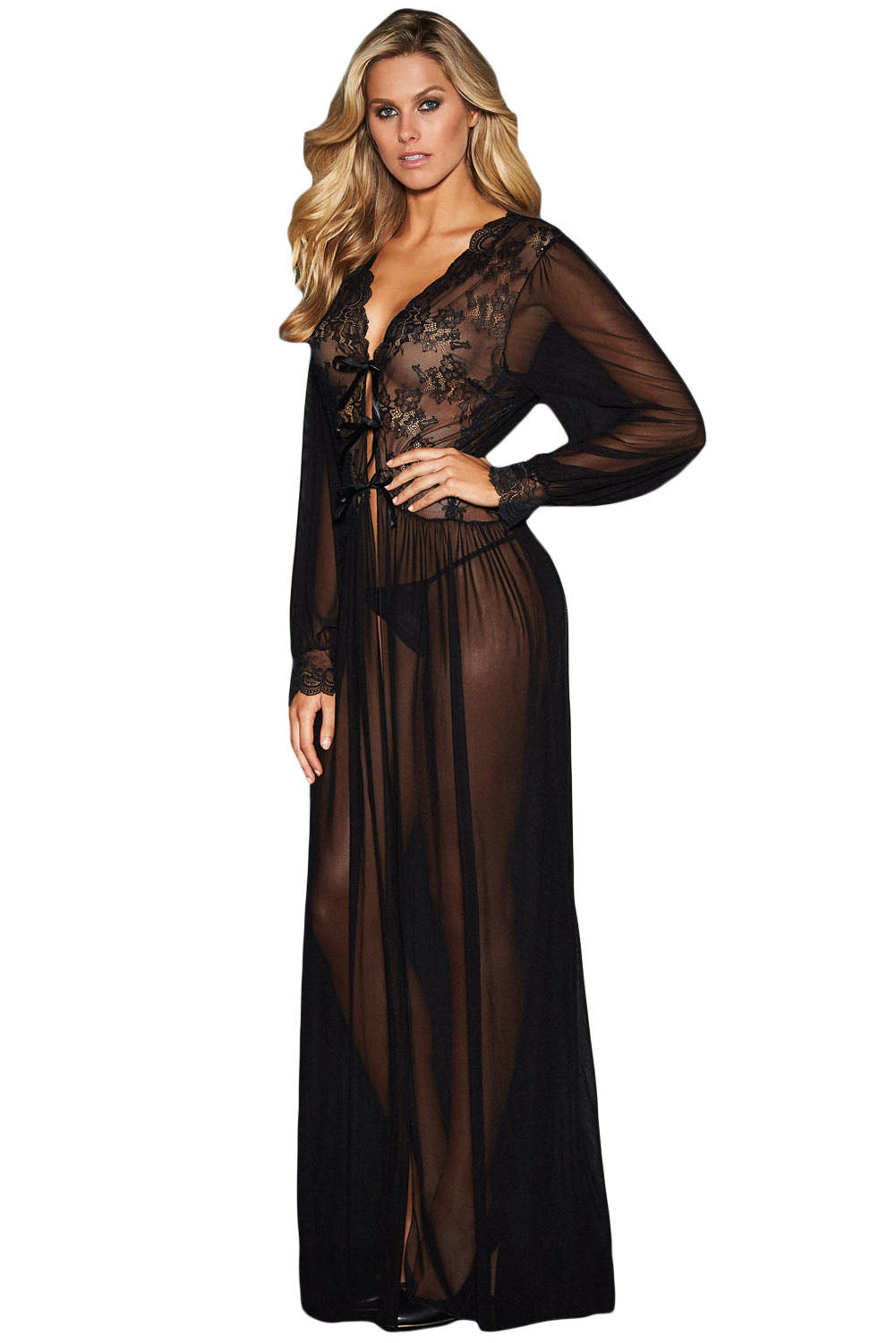d5164b58e48 Sexy Sheer Long Sleeve Lace Robe with Thong – SEXY AFFORDABLE CLOTHING
