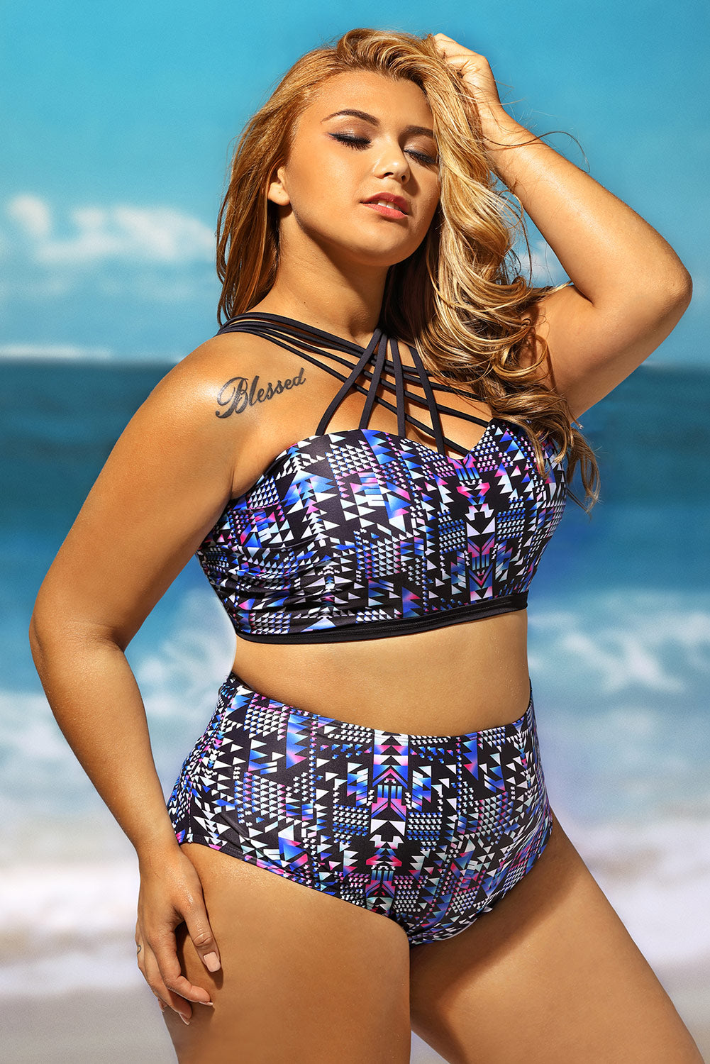 b326350cbf31e Sexy Strappy High Neck Printed 2pcs Plus Size Swimsuit – SEXY ...