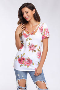 Sexy Strappy Neck Detail White Floral Short Sleeve T-shirt