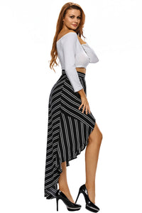 Sexy Stripe Print Asymmetrical Wrapped Black Maxi Skirt