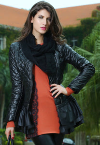 Sexy Stylish Black Collarless Quilted PU Womens Jacket