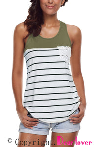 Sexy Stylish Striped Green Block Racerback Tank Top
