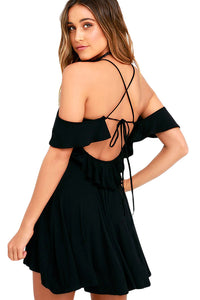 Sexy Sweet Sexy Black Backless Skater Dress