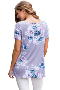Sexy Taro Floral Crisscross Neck Detail Short Sleeve Top