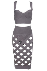 Sexy Taupe Open Caged Bandage Skirt Set