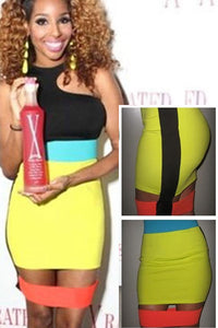 Sexy Trendy Neon Colors Stitched Celebrity Inspired Mini Dress