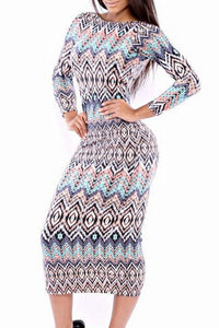 Sexy Tribal Print Scoop Back Long-sleeve Midi Dress