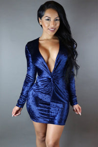 Sexy Twist Front Deep V Neck Club Dress