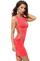 Sexy Watermelon Red Lace up Bodycon Mini Dress