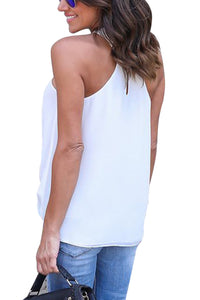 Sexy White Athena Drape Wrapped Tank Top