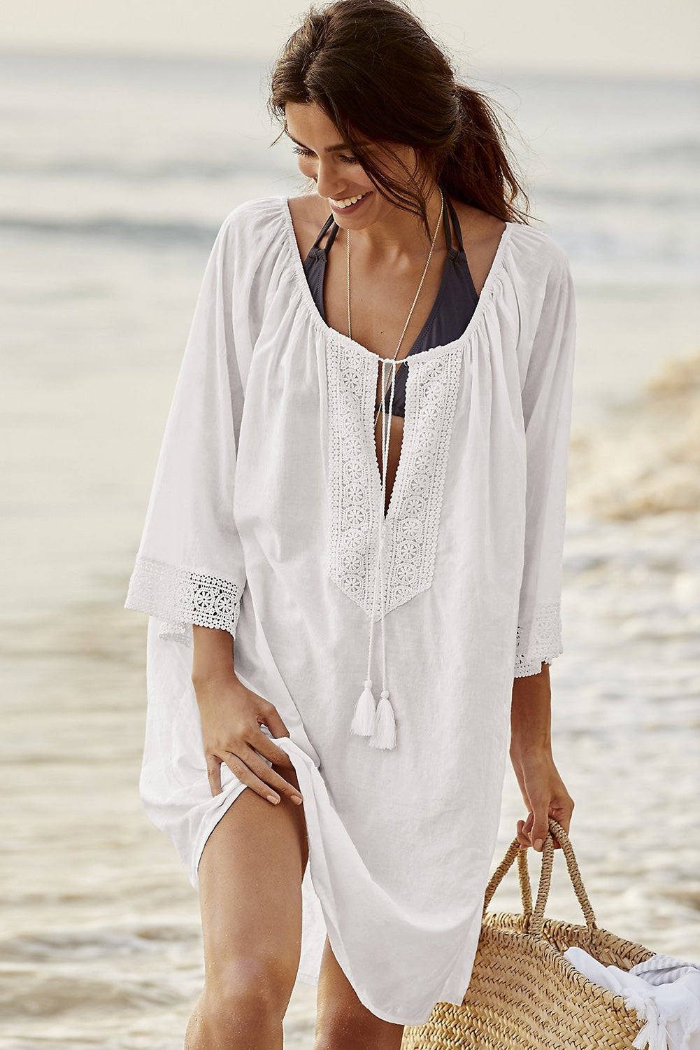 b4c6f3deb4 Sexy White Bohemian Lace Tassel Tie Manual Cotton Beachwear – SEXY  AFFORDABLE CLOTHING