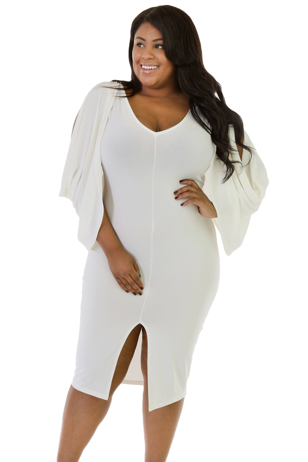 1f25c6f819 Sexy White Cascading Slit Sleeve Bodycon Plus Size Dress – SEXY AFFORDABLE  CLOTHING