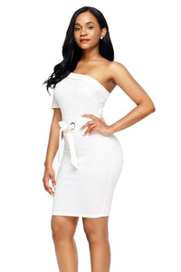 Sexy White Club Party One Shoulder Bodycon Dress