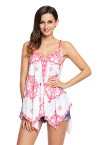 Sexy White Ethnic Print Summer Holiday Tank Top