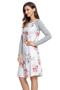 Sexy White Floral Print Stripe Raglan Sleeve Dress