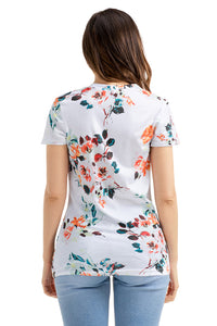 Sexy White Floral Short Sleeve Knot Top