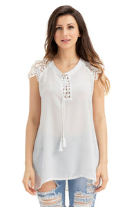 Sexy White Lace Sleeves Lace up Tunic Top