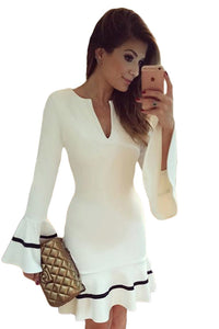 Sexy White Long Sleeve Pencil Sheath Mini Dress