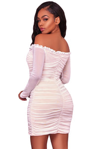 Sexy White Mesh Ruched Sexy Off Shoulder Mini Dress