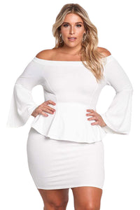 Sexy White Off The Shoulder Bell Sleeves Peplum Plus Dress