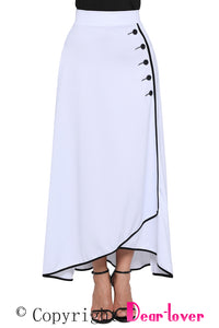 Sexy White Piped Button Embellished High Waist Maxi Skirt