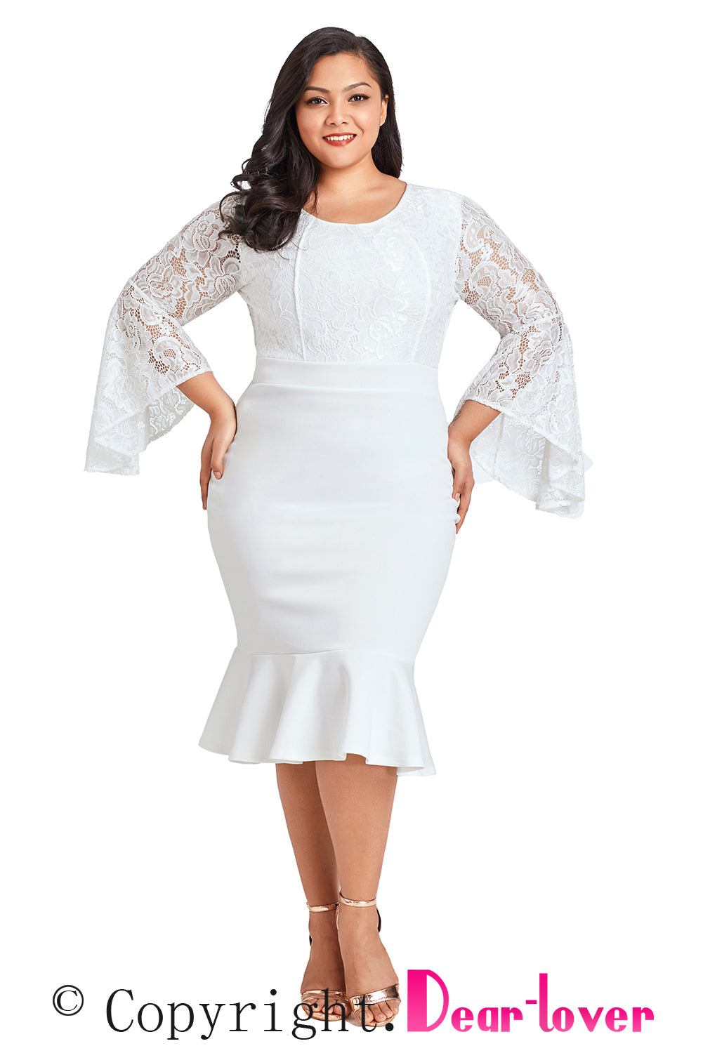 Sexy White Plus Size Lace Bell Sleeve Mermaid Bodycon Dress Sexy