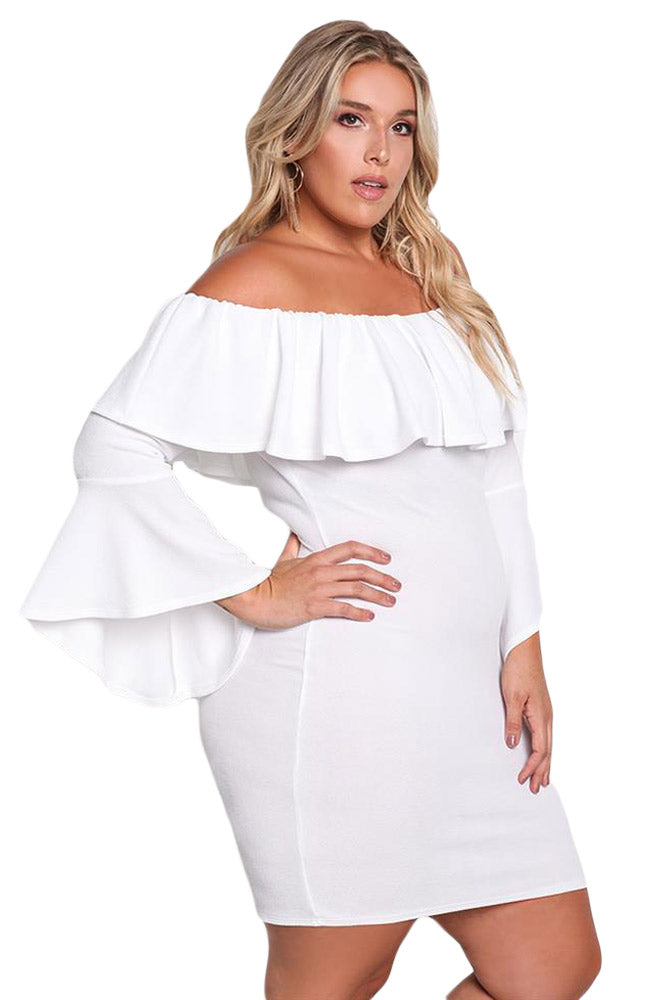 62b2e5658335 Sexy White Plus Size Off Shoulder Layered Ruffle Bodycon Dress ...