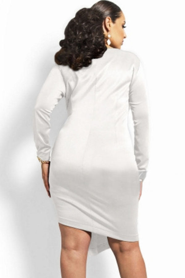 Sexy White Sexy Zipped Knee Length Plus Size Dress