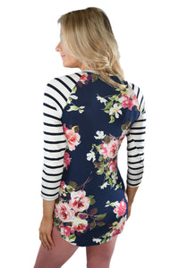 Sexy White Striped Sleeves Navy Floral Top