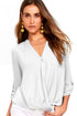 Sexy White V Neck Knotted Button-up Sleeve Blouse