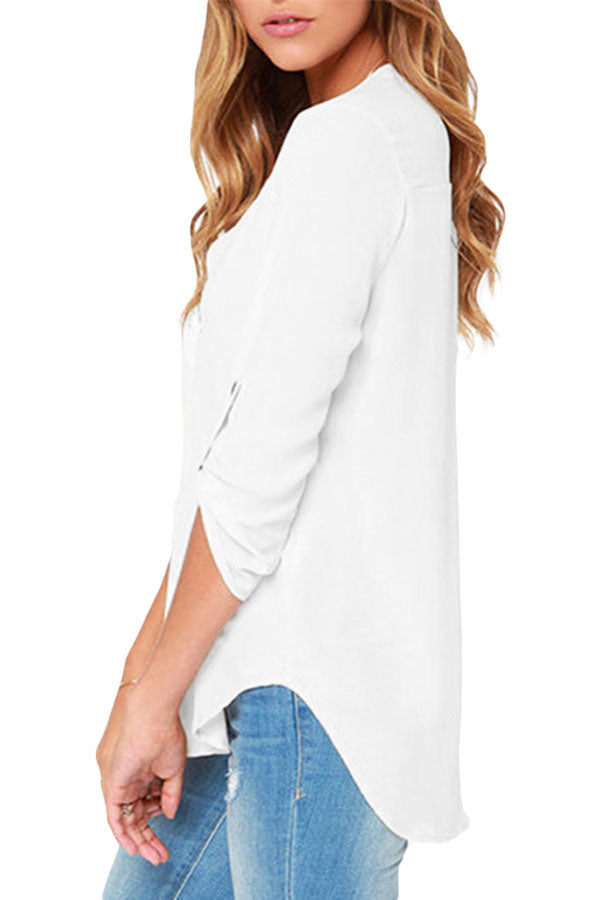 998f21e253 Sexy White V Neck Loose Fitting Chiffon Blouse – SEXY AFFORDABLE ...