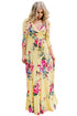 Sexy Yellow Blooming Flower Print Wrap V Neck Boho Dress