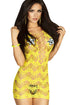 Sexy Yellow Crocheted Lace Hollow-out Chemise Dress