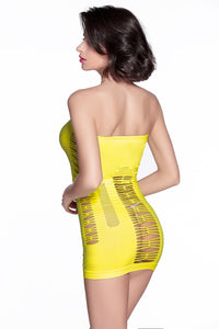 Sexy Yellow Hollow-out Flirty Tube Chemise