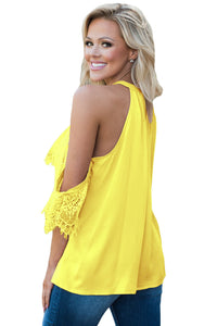 Sexy Yellow Lace Detail Oversleeve Tank Top