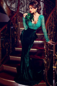 Shimmering Green V Neck Lace Bodice Velvet Maxi Mermaid Dress