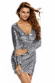 Silver Ruched Sequin Long Sleeve Nightclub Dress