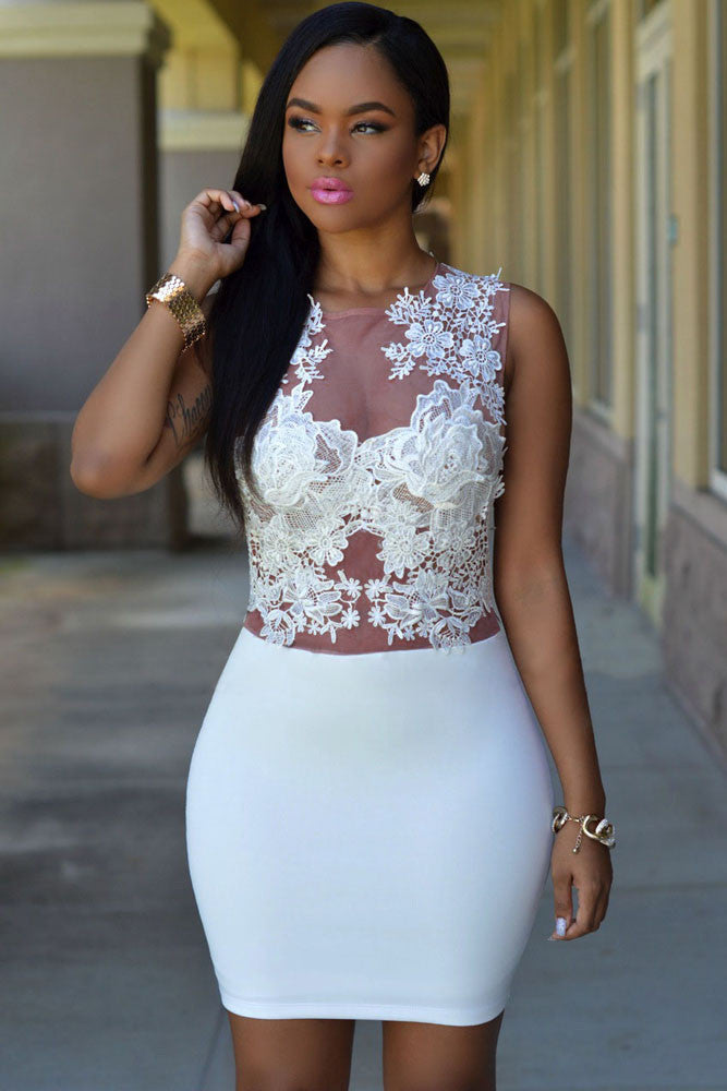 27a12d9bc230 Sexy Sizzling Floral Lace Bodice Mini Club Dress – SEXY AFFORDABLE CLOTHING