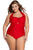 Solid Red Plus Size Non-underwire Monokini