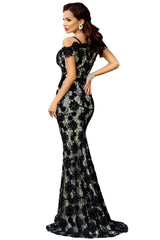 Spaghetti Strap Black Lace Crochet Long Evening Dress