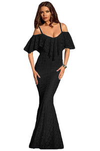 Spaghetti Straps Ruffled Off Shoulder Black Mermaid Dress