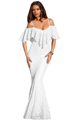 Spaghetti Straps Ruffled Off Shoulder White Mermaid Dress