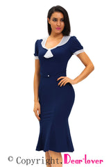 Stop Staring Navy Ivory Vintage Party Dress