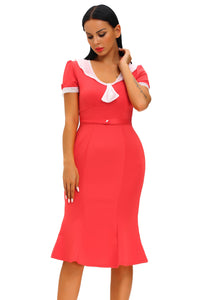 Stop Staring Red Ivory Vintage Party Dress