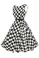 Stylish 50's Retro Black White Plain Swing Dress