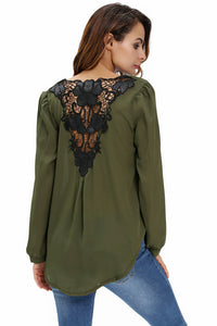 Stylish Army Green Crochet Back Wrap Front Blouse
